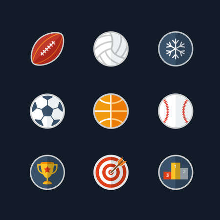 hockey games: Set of vector icons with sport balls and cup Flat design Illustration