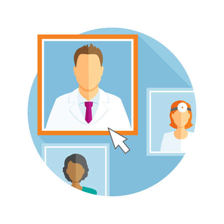 hospital staff: Flat design illustration with different avatars of doctors Illustration