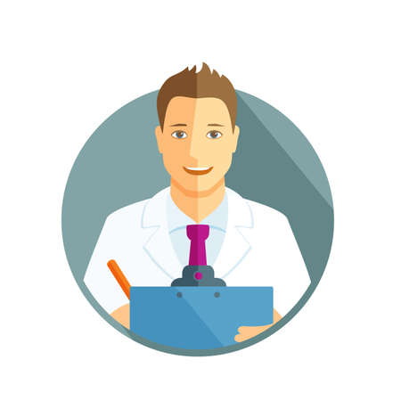 career counseling: Flat design illustration with avatar of doctor holding clipboard Illustration