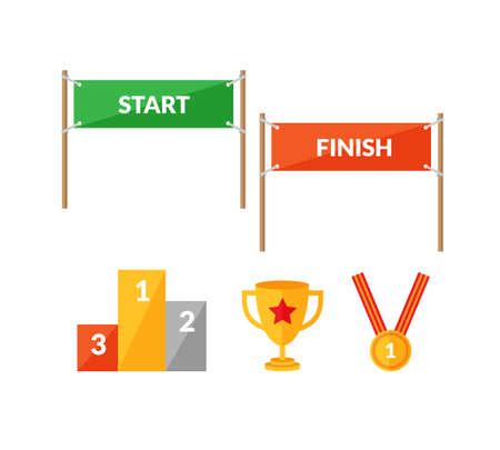 taza: Conjunto de iconos de estilo planas sobre la competencia deportiva con Inicio y Fin banners, pedestal, copa y medalla de ganar.
