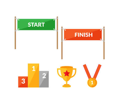 cup: Set of flat style icons about sport competition with Start and  Finish banners, pedestal, cup and winning medal.