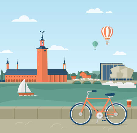 Flat illustration of seaside promenade in Stockholm, Sweden. View of the Town Hall. In the foreground a bicycle and a cup of coffee