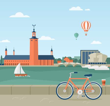Flat illustratie van de boulevard in Stockholm, Zweden. Uitzicht op het stadhuis. Op de voorgrond een fiets en een kopje koffie