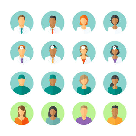 woman profile: Set of round avatars different medical stuff like general doctor, therapist, surgeon and otolaryngologist. Also icons of patients for medical forum
