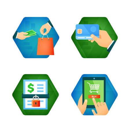 Vlakke pictogrammen van zakelijke thema zoals pay per creditcard, beveiligde betaling, online winkelen.