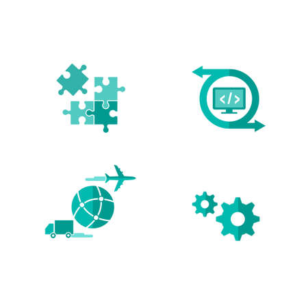 Icons for integrated and customized shipping software Ilustrace