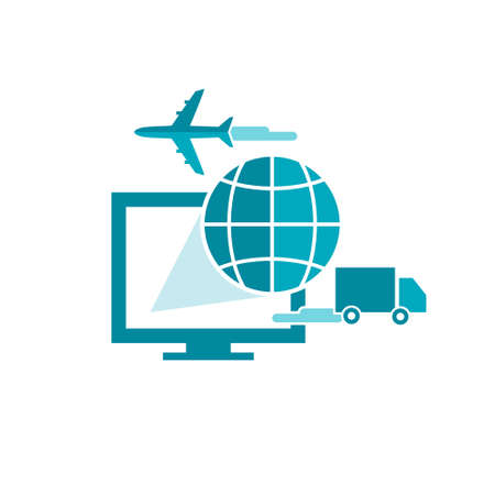 global logistics: Flat illustration for e-commerce and online shipping service with computer, truck and plane