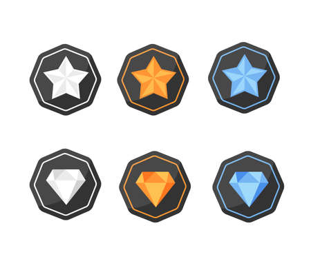 platinum: Vector set of icons with awards symbols of stars and diamonds in silver, gold and  platinum colors on the black polygonal background