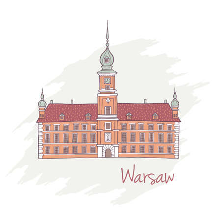 warsaw: Vector illustration of Royal Castle in Warsaw as a main landmark of Poland Illustration
