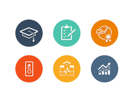 school exam: Vector set of flat icons for academy or school education such as exam, graduation and quality assurance and statistics