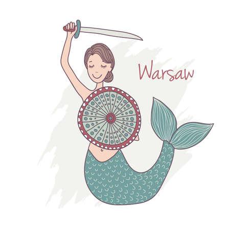 undine: Vector illustration of Mermaid monument in Warsaw as the landmark of Poland, hand drawn illustration
