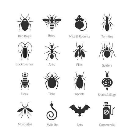Vector zwart-wit pictogram set van verschillende insecten zoals vliegen, kakkerlakken, bedwantsen, spinnen, knoppen, muggen en termieten voor ongediertebestrijding bedrijven