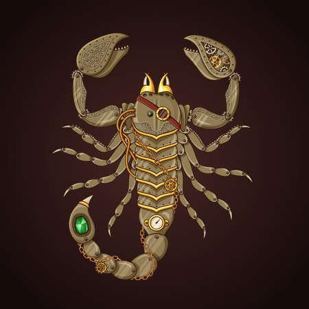 Vector illustration of mechanic scorpion in steampunk style. Ilustrace
