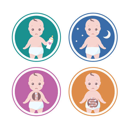 set of four illustrations with reason why a baby cry like he is hungry, has colic or need sleep