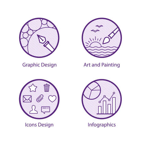 set of line icons about graphic design, art, painting, icons and infographics