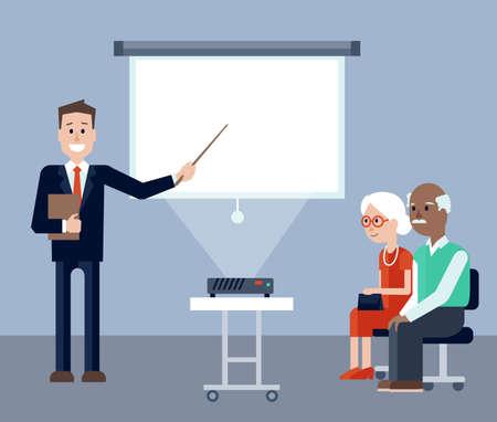 保険代理店を説明して、高齢者用セミナー画面上を指しているの図。高齢者の男性と女性の explanantions を聞いてします。画面上のテキストを配置し  イラスト・ベクター素材