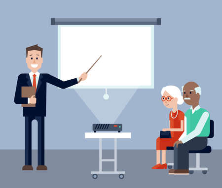 screen: illustration of Insurance agent explaining and pointing on screen on the seminar for seniors. Elder man and woman listening explanantions. Place for text on the screen Illustration