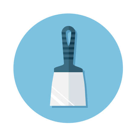 icons of construction tool putty knife on the round blue background. Flat design icon.