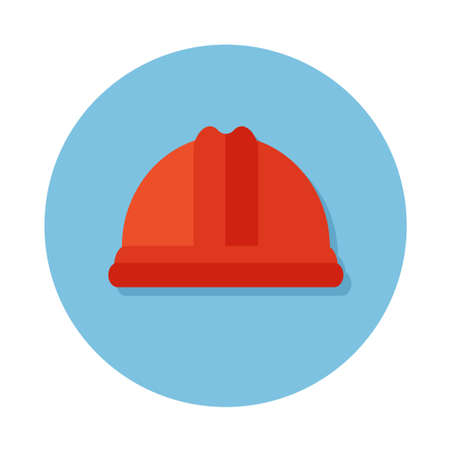 icons of construction equipment helmet  on the circle blue background. Flat design icon. Ilustrace
