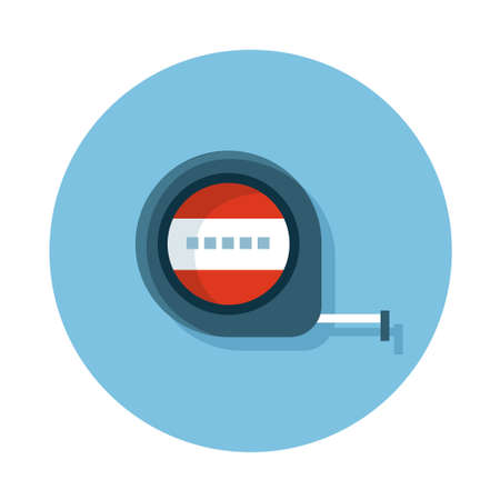 measuring tape: icons of construction tool measuring tape on the circle blue background. Flat design icon.