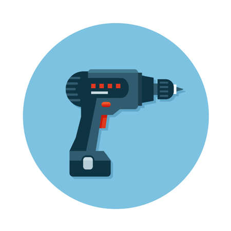 icon of construction tool  drill on the circle blue background. Flat design icon.