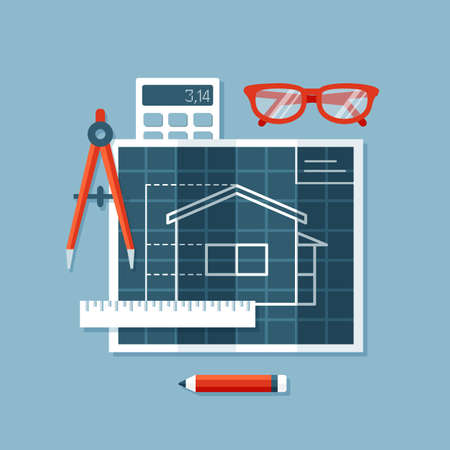 construction plan: Flat design illustration of engineering tools: blueprint with plan of house, engineers compass or divider, ruler, calculator, glasses. Construction, building and engineering concept