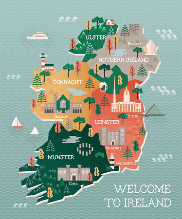 illustration Appartement avec carte Voyage stylisée de l'Irlande. Les monuments et les principales villes comme Dublin et Belfast. Texte Bienvenue en Irlande