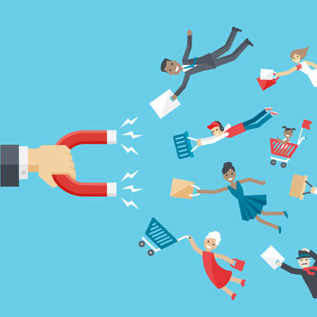shopping cart: business conceptual background in flat style.  The hand of businessman holding magnet and attracts happy customers or clients of different age and race to the business.