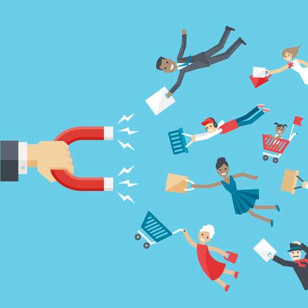 Business konzeptionellen Hintergrund in flachen Stil. Die Hand der Geschäftsmann Haltemagnet und zieht zufriedene Kunden oder Kunden unterschiedlichen Alters und Rennen für das Unternehmen. Vektorgrafik