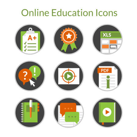 Set of flat icons of e-learning and distance education. Also can use for online training and courses and video tutorials. Icons of exam, award, questionary, forum and notebook.