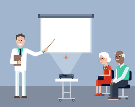 multi ethnic group: Vector illustration of young doctor explaining and pointing on screen on medical seminar for seniors. Elder man and woman listening explanantions. Place for text on the screen Illustration
