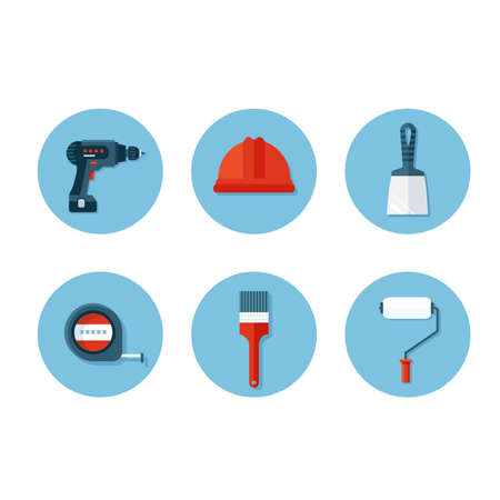 putty knife: Vector icons set of construction tools like helmet, drill, tape, paint brush and roller, putty knife on the circle blue background. Flat design icons. Illustration