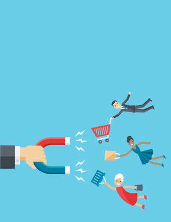 Vector ilustración de fondo vertical de negocios en estilo plano. La mano del hombre de negocios tiene imán que atrae a los clientes felices o clientes como el hombre, la mujer y de alto nivel.