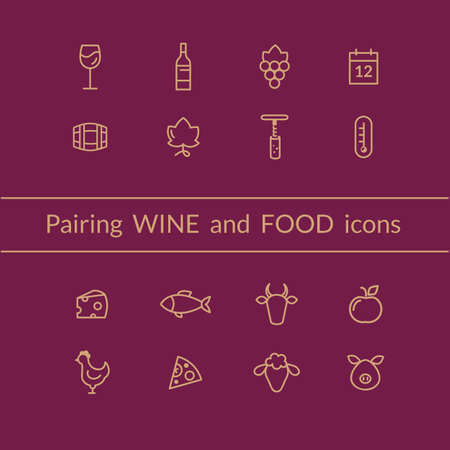 Vector set of wine and food pairing icons like fish, meat, fruits, bottle, glass, grapes. Line style