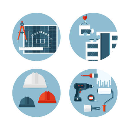 Set of vector icons about construction, tools, ecuipment,  engineering and safety. Flat design. Conceptual illustrations.