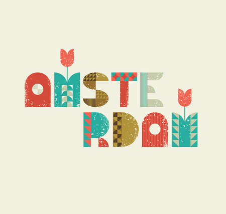 Vector illustration of Amsterdam lettering with symbols of Holland tulips. Retro design