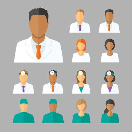 avatar woman: Vector set of avatars or characters of different medical stuff such as general doctor, therapist, surgeon and otolaryngologist