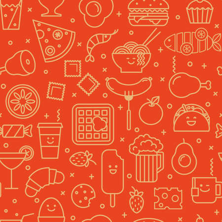 Fun vector background with line icons of different food like coffee, pizza, eggs, beer and ice cream. Seamless pattern