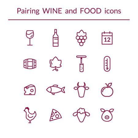 行アイコン ワインと料理のペアリングは、チーズ、魚、フルーツ、ボトル、グラス、ブドウなどのベクターを設定します。モダンなアウトライン ス