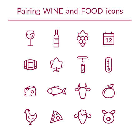 Vector set of line icons for wine and food pairing, such as cheese, fish,  fruits, bottle, glass, grapes. Modern outlined style Ilustrace