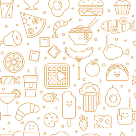 wafer: White vector background with beige line icons of  restaurant food like coffee, pizza, eggs, beer, wafer and ice cream. Seamless pattern.
