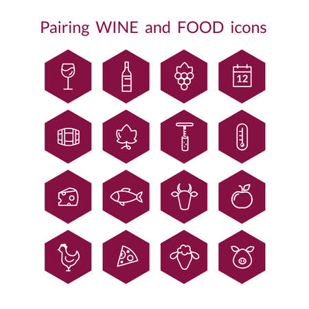 opener: Set of vector icons for wine and food pairing matching, Includes fish, beef, pork, fruits, bottle, glass, grapes. White line icons on the dark red  background.