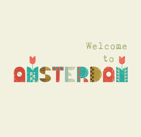 Vector greeting card with text Welcome to Amsterdam. Vintage lettering with symbols of Holland tulips. Retro design