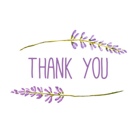 Vector watercolor greeting card with words Thank you framed by flowers of lavender.