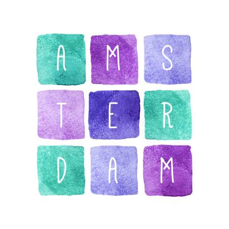 fondos violeta: Tarjeta de felicitación del vector con las letras Amsterdam Países Bajos en los fondos de acuarela cuadrados. Azul, violeta y verde colores pastel