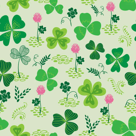 Vector seamless pattern with green hand drawn clover or trefoil and flowers 矢量图像