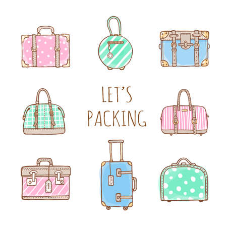 Vector hand drawn illustration  of vintage suitcases and bags with text Lets Packing. Retro pastel colors and doodles style Ilustrace