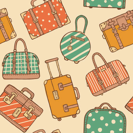 Vector hand drawn sketch style seamless pattern of vintage travel suitcases and bags for packing. Retro pastel colored doodles