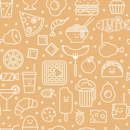 Vector seamless pattern of line iconic illustration of restaurant and fast food like coffee, pizza, wafer, burger, ice cream and chinese plates. White and beige colors