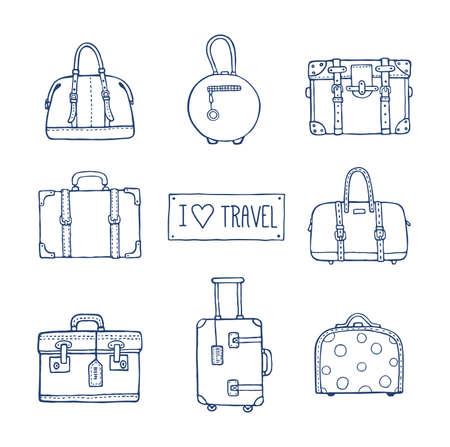 ヴィンテージ スーツケースやバッグ大好き本文のベクトル手描き芸術的なスケッチ イラスト旅行します。レトロなスタイルは、いたずら書き。  イラスト・ベクター素材
